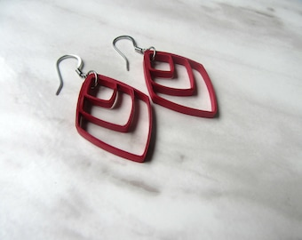 Red Quilling Earrings, Mothers Day Gift, Quilling Earrings, Unique Paper Earrings, Red Drop Earrings, Red Dangle Earrings, Quilling Jewelry