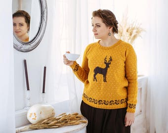 Knitted sweater with deer (mustard color) Knit sweater Sweater with deer  Woman knit Sweater Handknit Sweater
