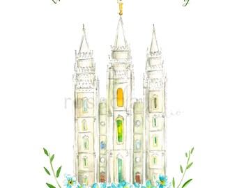 LDS-Salt-Lake-Utah-Tempel 2 Farbe Aquarell Druck Hochzeit Home Decor Blumen Pfingstrose Malerei Kunst Geschenk Taufe Geburtstag benutzerdefinierte Weihnachten