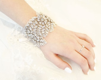Bridal cuff bracelet with crystals