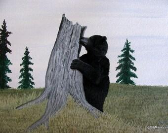 Honey Hunter. Original Watercolour and Gouache Painting. Bear. Forest. Tree Stump