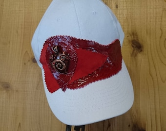 Red and white ballcap