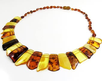 Beautiful 19.15 grams Multicolor Natural Genuine BALTIC AMBER Necklace Choker