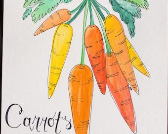 Carrots Watercolor ORIGINAL Art 9x12
