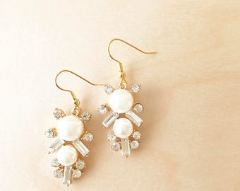 BROOKLYN Earrings - Crystal and Pearl Gold Earrings
