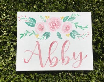 Custom Canvas | Baby Girl Name Sign | Nursery Decor | Nursery Sign | Baby Girl Decor | Floral Decor | Water Color| Personalized Canvas