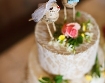 Custom//Love Bird 'Bride and Groom' Cake Toppers
