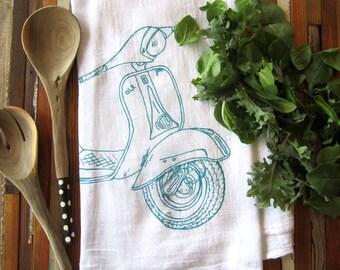 Tea Towel - Screen Printed Flour Sack Towel - Vespa - Eco Friendly Kitchen Towel - Dish Towel - Tea Towels - Christmas Gift - Kitchen Towels