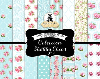 Shabby Chic Digital Paper, Shabby Chic Paper, Floral Vintage Scrapbook Paper, Floral Printable Paper, Instant Download, Scrapbook, Digital