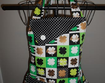 St Patrick's Day Blocks- Women's Apron - Lucky - Kiss Me I'm Irish - Shamrocks - Polka Dots - Ruffle - Pocket