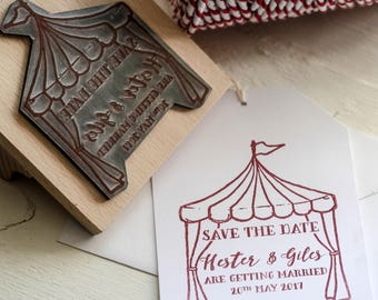 Tent Save The Date Stamp