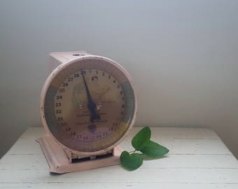 CLEARANCE ~ Vintage Pink Metal Paragon Baby Scale ~ Nursery Decor ~ Baby Shower Decoration ~ Photography Prop ~ Vintage Scale ~ Metal Scale