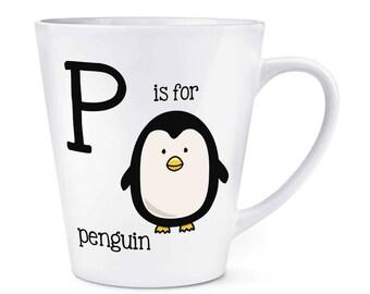 Letter P Is For Penguin 12oz Latte Mug Cup