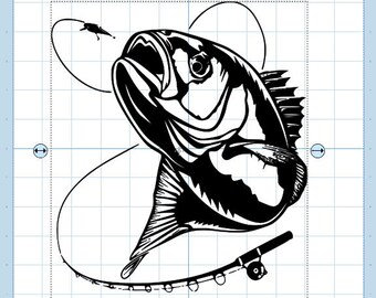 Bass fish with reel svg