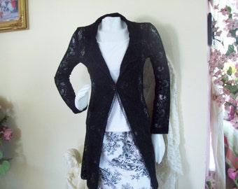 "Made in Australia ""Mazi"" Black Lacy Sweater-Coat, size XS"