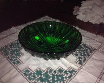 Vintage Anchor Hocking Forest Green Bowl Oyster And Pearl Pattern
