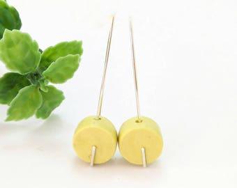 Light mustard earrings, Simple earrings, Long earrings, Handmade sterling silver hooks, Air dry clay earrings, Special occasion jewelry