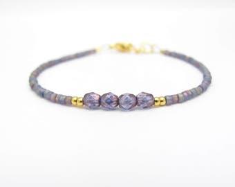 Purple Friendship Bracelet, Seed Bead Bracelet, Friendship Bracelet, Bridesmaid Gift, Minimal Bracelet, Purple Bracelet, Sweet 16, Sister