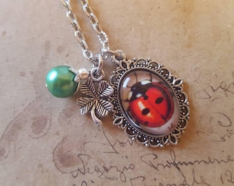 Ladybug Necklace ~ Silver Colors ~