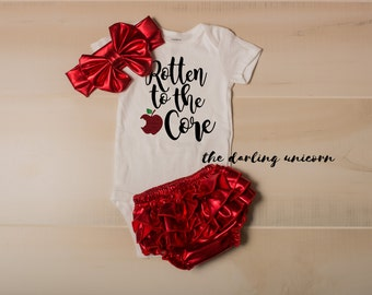 Rotten to the core infant girl bodysuit, baby girl bodysuit, newborn coming home outfit, infant outfit, spoiled rotten, snow white, disney