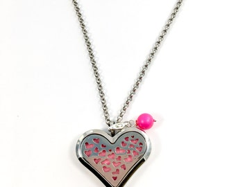 Heart essential oils diffuser necklace