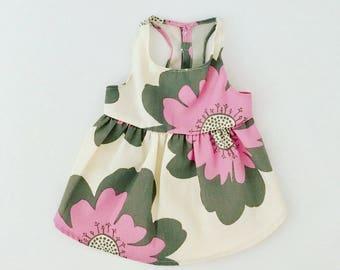 Flower Print Percale Dog Dress, 100% Organic Cotton, Dress for Dogs, Dog Dress, Dog Apparel, Dog Clothes, Eco Dog Clothes