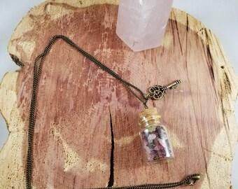I Am Love: The Heart Chakra Vial w/ Skeleton Key Charm! ~~Boho, Witch, Mystic, Jewelry