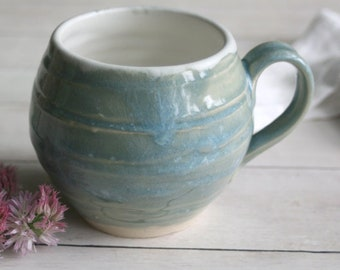 Celadon Blue and Matte White Pottery Mug Handmade Stoneware Pottery 15 oz. Coffee Cup Ready to Ship Made in USA