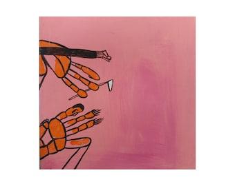 Painting on canvas, pink acrylic painting, original fine art, art on canvas, one of a kind art, bedroom painting, weird art, original art