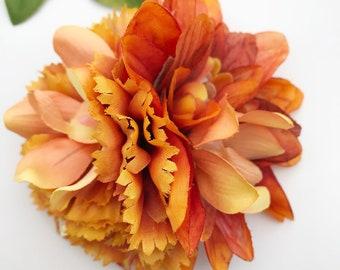 Handmade Orange Dahlia, Orchid & Carnation Hair Flower Clip