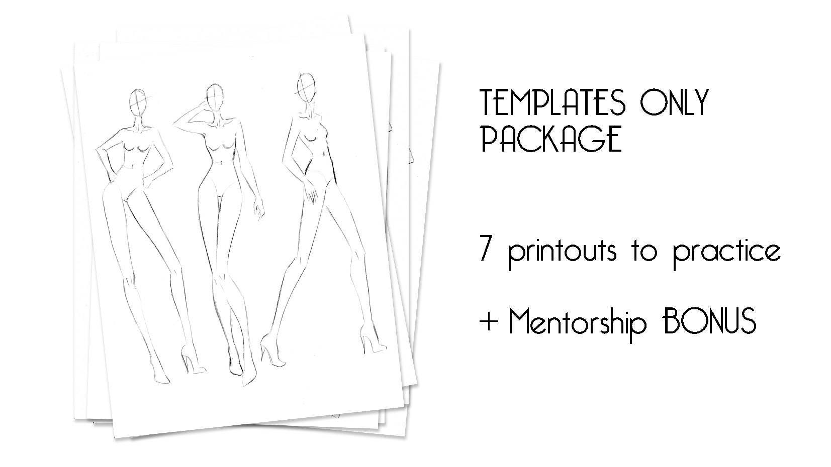 fashion illustration templates for beginners instant download