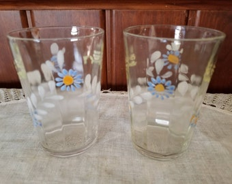 Vintage, Midcentury, Water Glass / tumbler, Juice Glass, Hand painted blue flowers, Floral, cottage