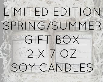 Pick Two 7 oz Spring & Summer Soy Candle Jars Gift Box   Bulk Soy Candle   Scented Soy Candles   Candle Gift Set   Gift Idea   Soy Candles