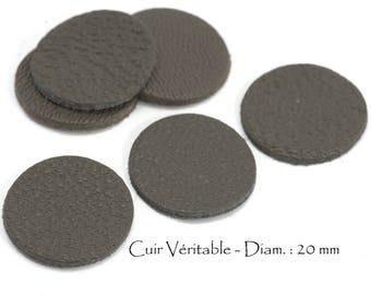 6 round genuine leather - Diam. 20 mm - goat leather - charcoal grey color set