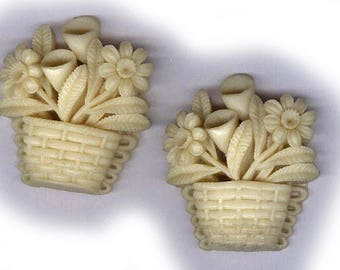 vintage CARVED CELLULOID flower basket shape from japan 1940s, TWO pieces antique celluloid vintage celluloid white cream neutral