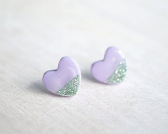 Mint and Lavender Heart Stud Earrings