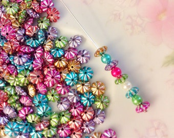 Colorful Assortment of Acrylic Spacer Beads, Silver Accent Saucer Beads in a Variety of Colors, 4x6mm (150)