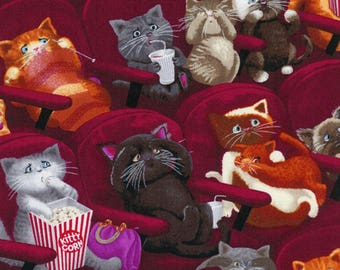 Cat Fabric, Kittens, Scaredy Cats by Timeless Treasures, Cotton Fabric,  1 Yard