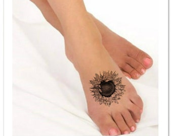 Flower tattoo etsy for Sunflower temporary tattoo
