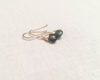 Dark Green Tourmaline and Gold Drops - Deep Green Almost Black Faceted Tourmaline Drop Earrings Wrapped in 14k Yellow Gold Fill Wire OOAK