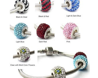 Pave Crystal Beads Swarovski & Sterling Silver Large Hole European