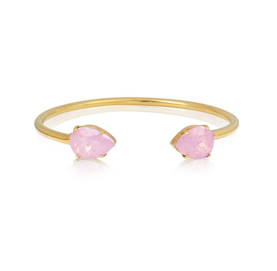 Crystal Drop Cuff Bracelet in Pink Opal
