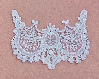 Antique lace applique, Point de Gaze neckline or bodice trim, 1800's handmade needle lace