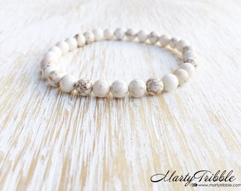 Magnesite Bracelet, Earthy Gemstone Jewelry, Natural Stone Jewelry, Cream Ivory Bracelet, Mala Beads Bracelet, Healing Crystals Bracelet