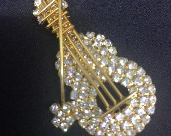 Rhinestone Guitar or Viola with Bow Vintage Brooch