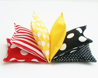 Bean Bag Set of 6 - Washable Beanbags  - Kids Bean Bag Toss Game - Fabric Toddler Toy - Red, Black, Yellow Bean Bags - Birthday Party Game