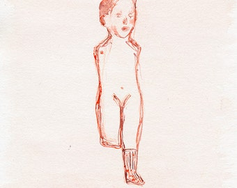 Bisque doll - giclee prints . Artwork about domestic violence, children abuse, loss of a child, grief gift, loss of a baby