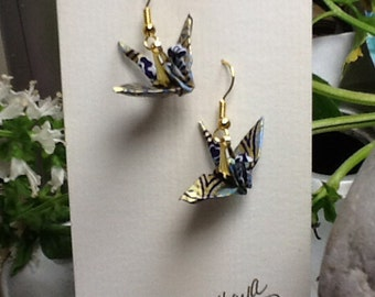 Japanese paper washi paper chiyogami paper origami crane earrings by cra1nes on etsy