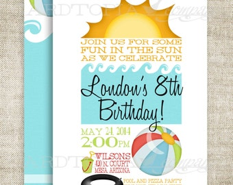 SUMMER SWIM POOL Beach Birthday Party Invitations Sun Beach Ball River Ocean Lake Digital diy Printable Personalized - 191390503