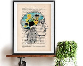 Anatomy Print of skull with Flowers, Botanic illustration, vintage drawing, book art, dictionary print, french vintage page